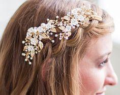 KOSTENLOS USA Versand, Hochzeit Haarschmuck, Kopfschmuck, Gold Blume Kopfstück, Elfenbein Blumenranke Haar, Gold Braut Haar-Clip, Hochzeit