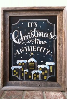 Christmas in the City Holiday Chalk Art - by MainStreetChalk on Etsy Christmas In The City, Merry Christmas And Happy New Year, Christmas Signs, Christmas Time, Christmas Decorations, Blackboard Art, Chalkboard Decor, Chalkboard Designs, Chalkboard Restaurant