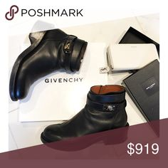 GIVENCHY Shark Ankle Boots **FINAL PRICE** 🍂Autumn Sale🍂 Authentic GIVENCHY black round-toed leather ankle boots w/gold hardware. Tonal stitching, leather soles, inner zip and wrap around ankle buckle closure w/gold-tone shark tooth twist-lock. Includes box. Fit: Euro 41 or US10. GUC: normal wear to exterior & bottom. **LOWEST & FINAL PRICE is LISTED**. Serious Buyers Only please: 🚫NO TRADES/NO PP🚫 **YSL wallet available in separate listing** Happy Poshing! Givenchy Shoes Ankle Boots…