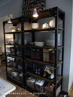 Restoration Hardware inspired shelves with wire baskets