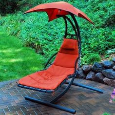 Hammock with Stand . Cloud 9 Hanging Chaise Lounger is great for a relaxing afternoon with an overhanging cover and comfy plush chair.