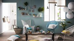 La pièce à vivre #zodio #décoration #salon #tendance #bleu