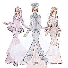 Wedding Dress Sketches, Dress Design Sketches, Fashion Design Sketches, Wedding Drawing, Sketch Design, Drawing Sketches, Drawings, Wedding Dresses, Hijab Drawing