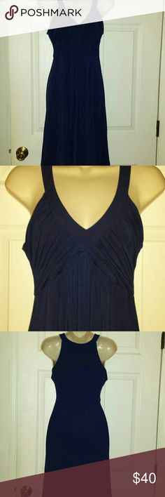 Calvin Klein dress Cute navy blue dress v neck front and high back Stretchy fabric pullover gathered in the back  waist Calvin Klein Dresses Midi