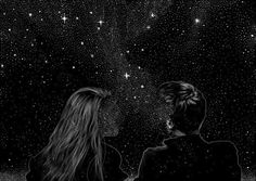 Find images and videos about boy, black and art on We Heart It - the app to get lost in what you love. Wallpaper Casais, Galaxy Wallpaper, Art Sketches, Art Drawings, Couple Drawings, Moon Art, Stargazing, Trippy, Aesthetic Wallpapers