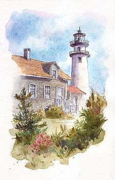 Step by step, watercolor lighthouse tutorial