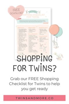Download our free Shopping Checklist for Twins to help you set up your twin nursery, ready to welcome your new twin treasures home.