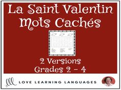 Primary French - Valentine's Day Word Search - Mots Cachés - La Saint ValentinThis literacy center or independent work activity for primary core French or primary French immersion is an easy, no-prep, black and white, print it . Valentines Day Words, Valentines Day Activities, Everyday Activities, Work Activities, Network Drive, Core French, Teacher Boards, French Resources, French Teacher
