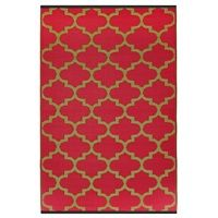 FAB HABITAT TANGIER OUTDOOR RUG in Pinkberry & Bronze Recycled material