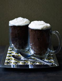 Guinness Mug Cake ~ stout & dark chocolate sponge baked in a mug & topped w/cream cheese icing ~ individual desserts for St. Christmas Treats, Christmas Baking, Guinness Cake, Chocolate Garnishes, Mug Recipes, Recipies, Individual Desserts, Chocolate Sponge, Thing 1