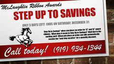 """ONLY 3 DAYS LEFT! Step Up to Savings on your next purchase of 12"""" award ribbons as low as $1.35 each or 15"""" award ribbons as low as $1.55 each. Ends December 31 - Does not apply to rush orders."""