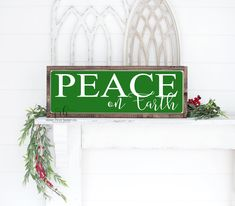 Peace on earth painted wood sign | Christmas sign | distressed rustic sign | rustic home decor | Christmas wall decor