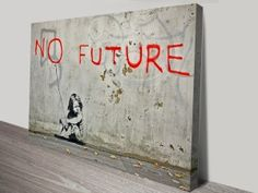 One of Banksys more poignant guerrilla art pieces is the No Future Girl Balloon. It was spray-painted on the wall of a home in Bevois Valley, Southampton Banksy Canvas Prints, Banksy Artwork, Art Prints, Banksy Artist, Artist Wall, Photo Canvas, Canvas Art, Canvas Prints Australia, Graffiti Piece
