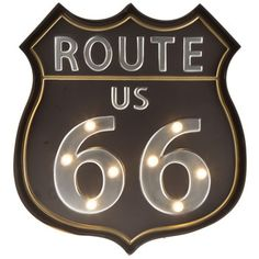 Black Route 66 Lighted Metal Wall Decor