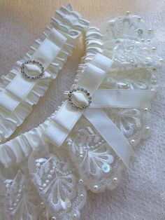 "The "" Amelie "" Cream/ Ivory Garter Set. Free shipping worldwide. Wedding Garters of distinction. https://www.etsy.com/listing/200579421/the-amelie-cream-garter-set?ref=shop_home_active_18"