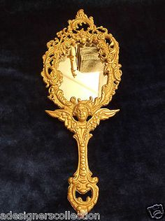 Vintage Winged Cherub Motif Solid Brass Collectible Hand Mirror
