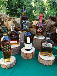 Had a whiskey/cigar bar for hubby birthday party. Bro in law cut logs to stagger height of bottles. so happy how they tuned out. Had a whiskey/cigar bar for hubby birthday party. Bro in law cut logs to stagger height 50th Birthday Party Decorations, 70th Birthday Parties, 50th Party, Man Birthday, Birthday Crafts, 30th Birthday Ideas For Men Party, 40th Birthday Themes, Beer Birthday Party, Grandpa Birthday
