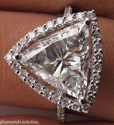 Reserved. Not Avail For Purchase. 2.78ct Estate Vintage Trillion Diamond Engagement Wedding 14k White Gold Ring EGL USA