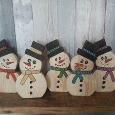 Wooden Snowman Decoration - orange scarf