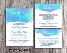 DIY Watercolor Wedding Invitation Template Set Editable Word File Download Printable Invitation Blue Invitation Purple Watercolor Invitation by TheDesignsEnchanted