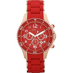 MARC BY MARC JACOBS MBM2577 Marine Rock rose gold and silicone chronograph watch (Red