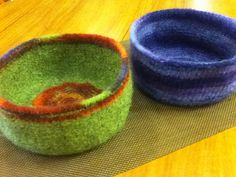 Felted Bowl Pattern. Once your bowl has been felted, shape it by placing over something like a soup bowl, mixing bowl what ever might give your felted bowl that final shape you are trying to achieve.    Embellish your finished felted bowl by adding some needle felted motifs. It's really up to your imagination!