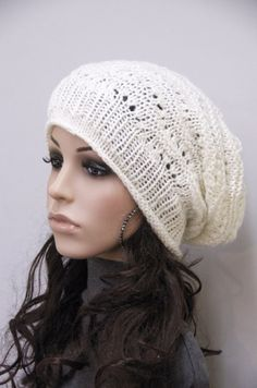 Hand Knit Chunky Ivory Wool Hat by MaxMelody on Etsy, $36.00