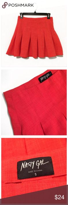 "Sale🎉NASTY GAL orange played skirt size S Never worn New NASTY GAL orange played skirt size S. Waist: 13"", length:15"".unlined, side zipper. Nasty Gal Skirts Mini"