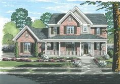 Country House Plan with 1929 Square Feet and 4 Bedrooms from Dream Home Source   House Plan Code DHSW67972