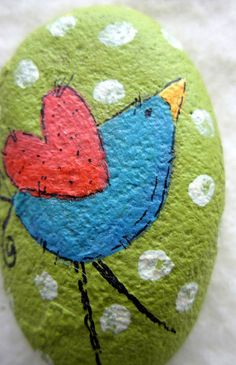 Such a darling bird! Tiny bird adorns this petite garden stone. 1-1/2 x 1 approx. size. I love these smaller size stones for window sills, (I put