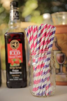 Brightly Colored Straws at Rustic Wedding