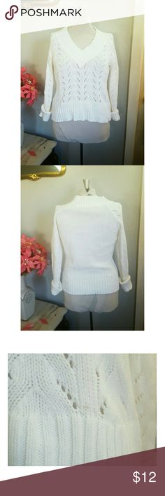 Sonoma White Knit Sweater Brand:Sonoma|  Size Medium | $12 Beautiful knitted sweater , great for the chilly spring ! Has a small dot of makeup in the front. Picture 3.And on the sleeve. Very good condition   HI my name is Aleja and thank you for stopping by!  Ships same day or next day smoke and pet free home  Sorry no tryons or trades 24hr holds  Happy to answer all questions:)   Let's be friends on IG: @bella_doncella1107 Sonoma Sweaters