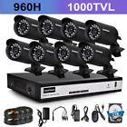 8CH 960H HDMI DVR 1000TVL Outdoor CCTV Video Home IR Security Camera System 1TB