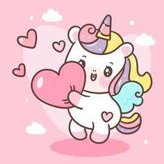 Cute Cartoon Drawings, Cute Kawaii Drawings, Cute Unicorn, Unicorn Party, Unicorn Birthday, Hello Kitty Rosa, Panda Nursery, Nursery Art, Image Nice