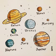 provocative-planet-pics-please.tumblr.com Planets illustration final in ink brush pen colored pencil and watercolor #planets #watercolor by andrewbartondesign https://www.instagram.com/p/BDauEdFgMiC/