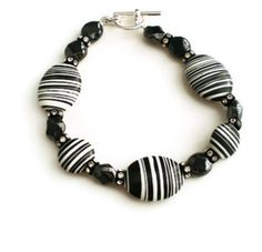 Black and White Dyed Howlite Bead Bracelet with Czech Glass and Swarovski Crystal Rondelle Spacer Details