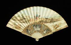 Fan    Date:      second quarter 18th century  Culture:      Scottish (probably)  Medium:      ivory, mother-of-pearl, parchment, gouache  Dimensions:      11 3/4 in. (29.8 cm)  Credit Line:      Brooklyn Museum Costume Collection at The Metropolitan Museum of Art, Gift of the Brooklyn Museum, 2009; Gift of Millicent V. Hearst, 1962  Accession Number:      2009.300.1543