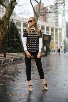 lace top with button down shirt and straight leg pants