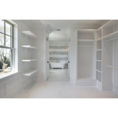 Walk Through Closet - Transitional - closet - Corcoran ❤ liked on Polyvore featuring rooms