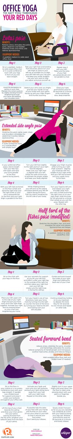 Office yoga to get you through your red days by rappler.com: Here are some simple yoga poses that are easy to do in workplace