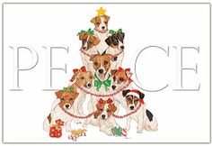 Jack Russell Dog Brussel Sprouts Have Fun This Xmas 10 pack small Charity cards