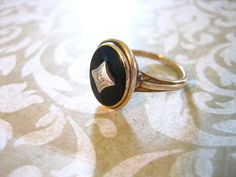 Antique 10K Gold  Budlong Docherty Armstrong Onyx by charmingellie, $140.00