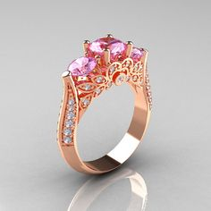 Classic 14K Rose Gold Three Stone Diamond Light Pink by artmasters