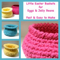 3 Fast & Easy #Crochet #Baskets Pattern - Just a bit of inexpensive cotton and 1/2 hour to make these jelly bean or #Easter egg baskets.