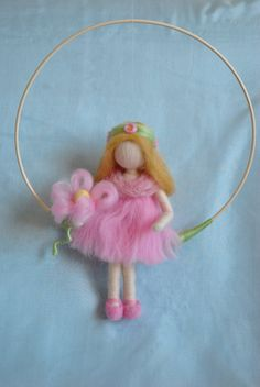 Waldorf inspired needle felted doll mobile girl and by MagicWool, $55.00