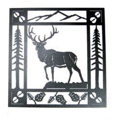 This High Alert Elk Metal Wall Art depicting a laser cut elk looking out over a valley with a mountain range in the background is  designed to add a rustic theme to cabin, lodge or home. This wrought iron metal wall decor by Smoky Mountain is completely handcrafted in the USA and  available in hammered black or rust patina powder coat...