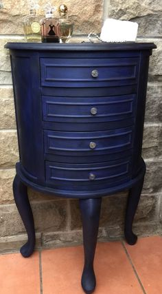 Furniture Jewellery Armoire painted in Annie Sloan Napoleonic Blue and finished with Black Wax For Sale