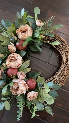 A transitional wreath, suitable for a variety of home decor styles that can be up from January through fall. Our pomegranate and peony wreath paired with greenery adds texture and soft neutral color to your porch. Diy Fall Wreath, Fall Wreaths, Christmas Wreaths, Summer Wreath, Mesh Wreaths, Silver Christmas Decorations, Faux Flowers, Porch Decorating, Home Decor Styles