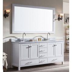 Ariel Cambridge (double) 73-Inch White Modern Bathroom Vanity Set