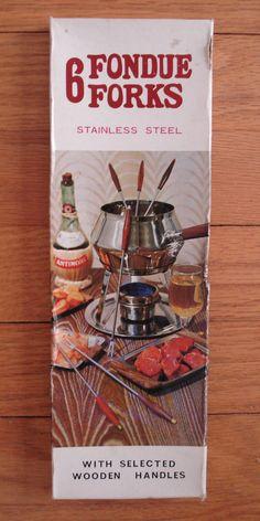 6 Vintage Fondue Forks Wood Handles Stainless Steel w/ Box Japan  MCM Woolworth #WFWoolworth